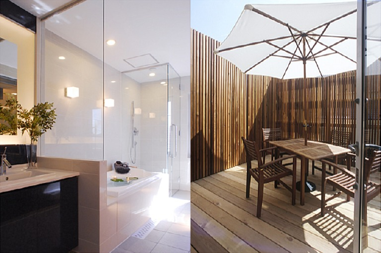 モデルハウスのバスルーム+テラス