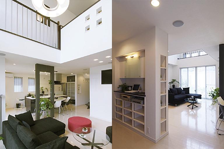 神奈川県横浜市の注文住宅のモデルハウス「リビングの吹き抜け」