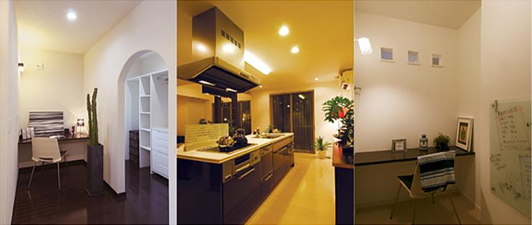 横浜市の注文住宅のモデルハウス「収納部屋/キッチン/勉強部屋」