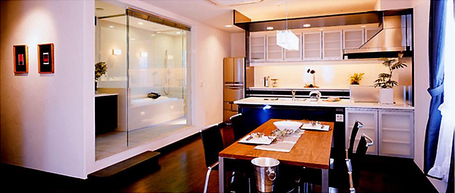 神奈川県横浜市のモデルハウスのダイニング+キッチン