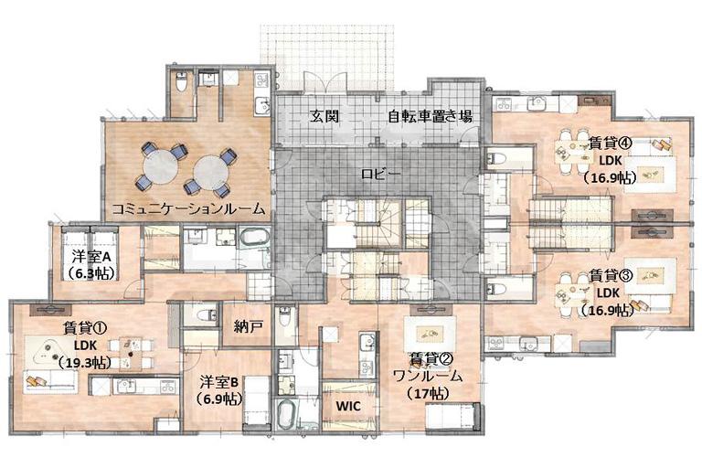 神奈川県横浜市の賃貸住宅・併用住宅 間取り1階部分
