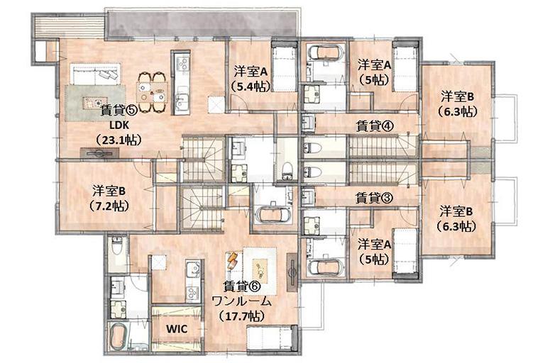 神奈川県横浜市の賃貸住宅・併用住宅 間取り2階部分