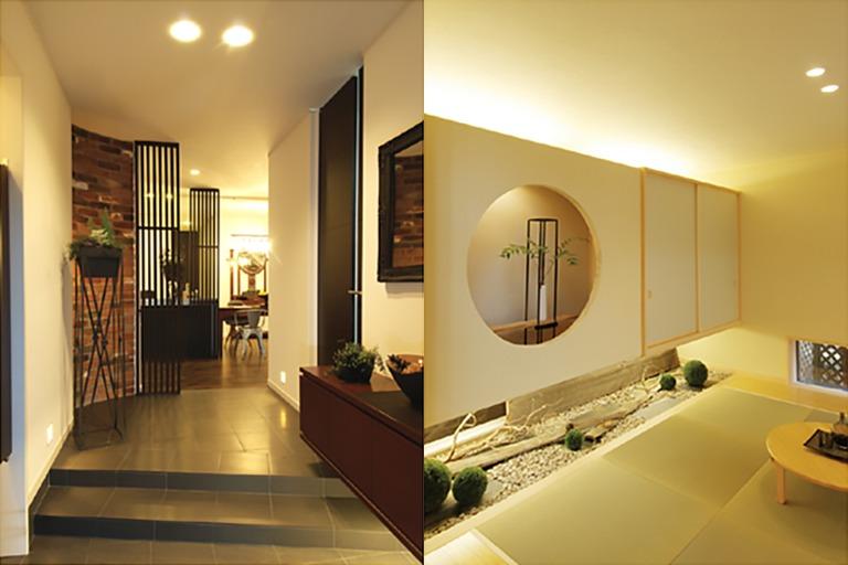 神奈川県横浜市の注文住宅の玄関と和室