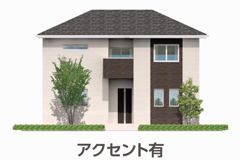 神奈川県横浜市の注文住宅の外観「アクセント有り」