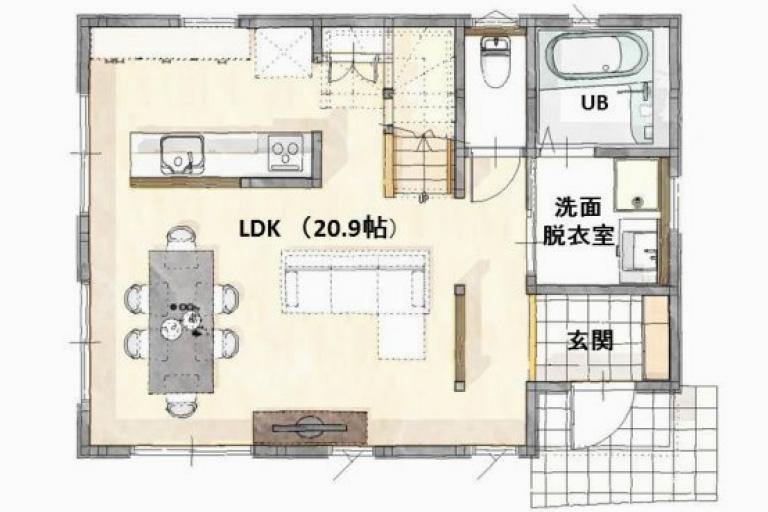 神奈川県横浜市の注文住宅の3LDK間取り1F