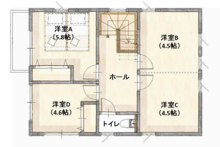 神奈川県横浜市の注文住宅の3LDK間取り2F