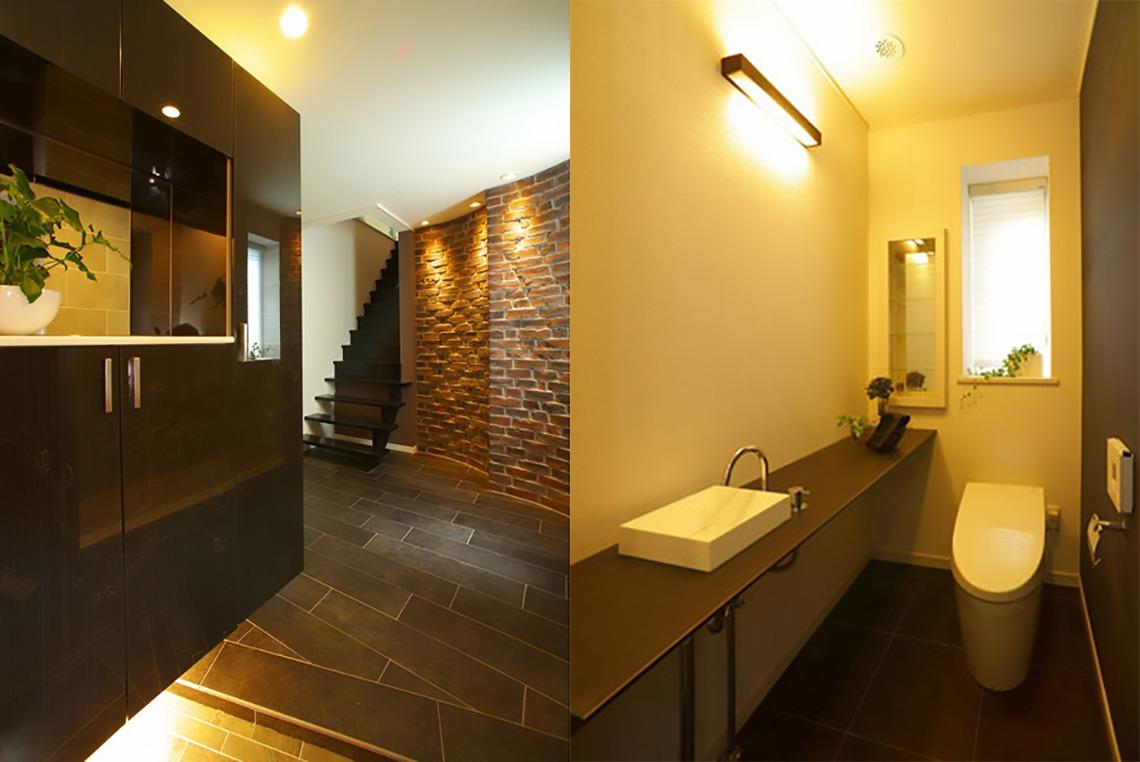 神奈川県横浜市の注文住宅のエントランスと洗面所