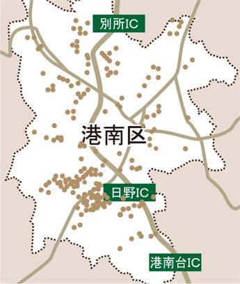 神奈川県横浜市の近代ホームへのアクセスマップ